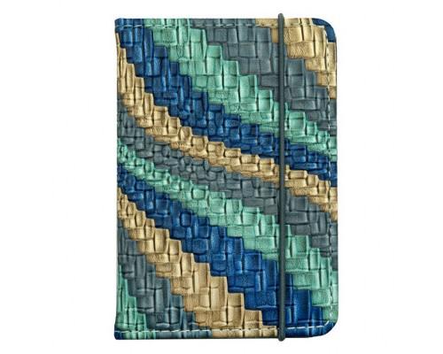 """Обложка для паспорта """"Сияние"""" 9.5х13.5см., на резинке, экокожа"""