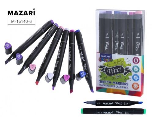 Кан.Маркер д/скетчинга двустор.6цв.VINCI BLACK Purple colors (пурпурные цвета)