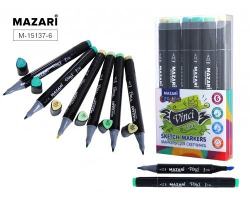 Кан.Маркер д/скетчинга двустор.6цв.VINCI BLACK Green colors (зеленые цвета)