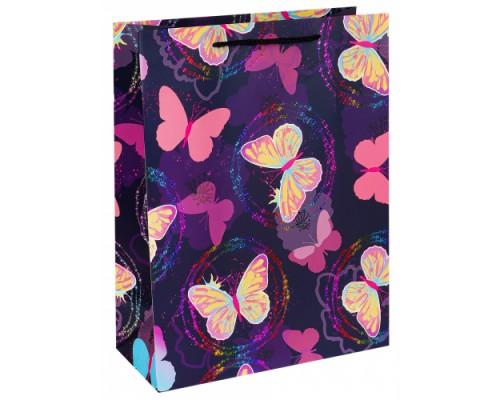 Dream cards Пакет подарочный с мат.лам. и глиттером 26х32х12 см (L) Розовые бабо