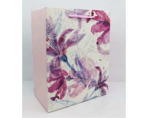 Dream cards Пакет подарочный с мат. лам. Пестрые розовые цветы 31x42x12 см (XL),