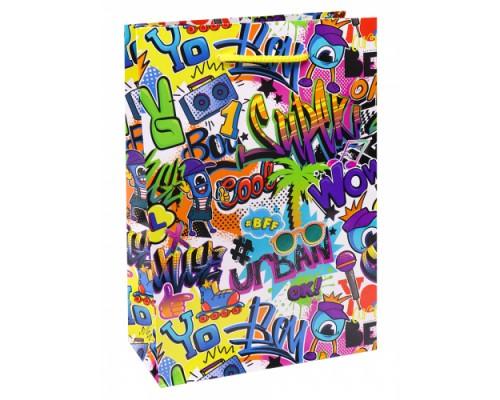 Optima Пакет подарочный с глянцевой ламинацией 26,4x32,7x8 см (L) Молодежные гра