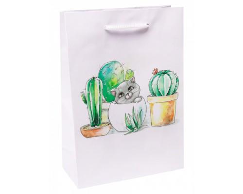 Optima Пакет подарочный с глянцевой ламинацией 22x31x10 см (ML) Котик в кактус