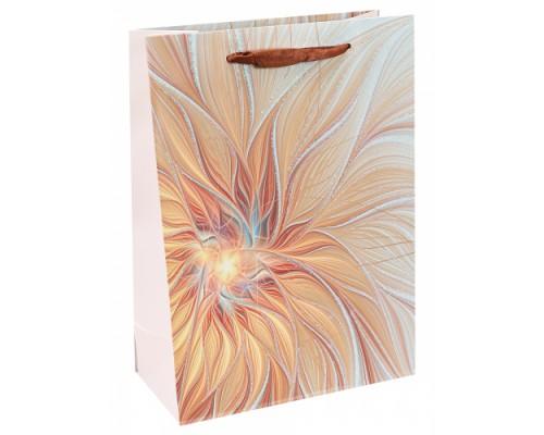 Dream cards Пакет подарочный с мат. лам. и тис.фольгой Золотой цветок 26х32х10