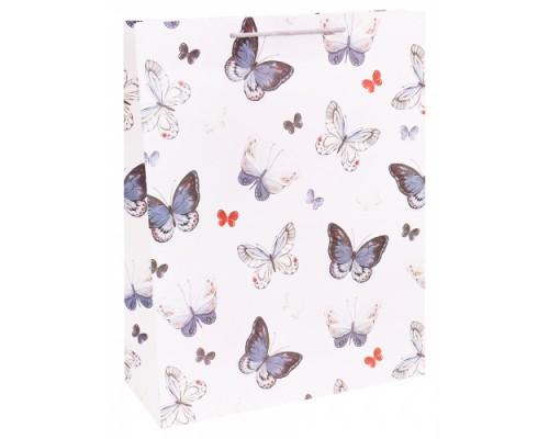 Dream cards Пакет подарочный с мат.лам. 31х42х12см (XL) Голубые бабочки, 210 г