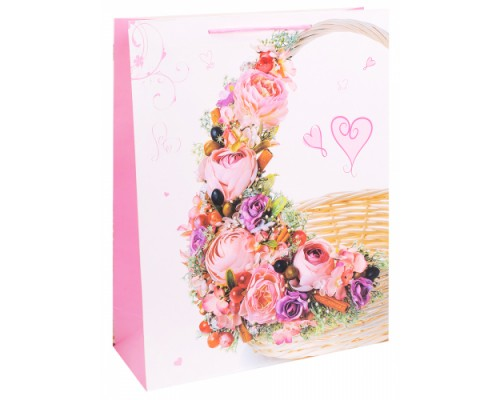 Dream cards Пакет подарочный с мат.лам. 31х40х12см (XL) Корзина с розовыми цвет