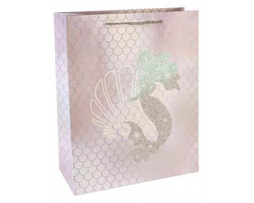 Dream cards Пакет подарочный с мат.лам. и глиттером 26,4х32,7х13,6 Сказочная рус